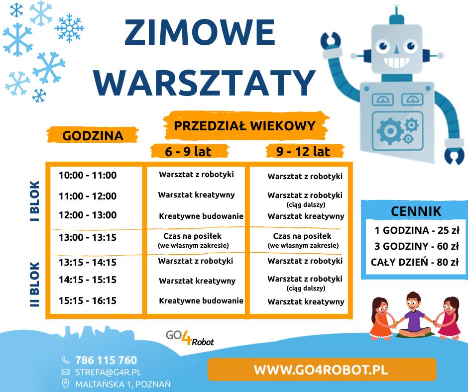 Szczegóły półkolonii zimowych 2021 GO4Robot Poznań